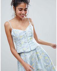 Oasis Floral Print Jacquard Button Down Cami Top - Blue