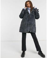 New Look Longline Faux Fur Aviator Jacket - Grey