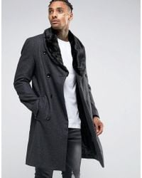 Criminal Damage - Overcoat With Faux Fur Collar - Lyst