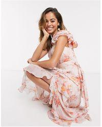 Forever New Оранжевое Платье Макси С Цветочным Принтом -оранжевый