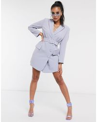 4th & Reckless 4th + Reckless Belted Blazer Dress - Blue