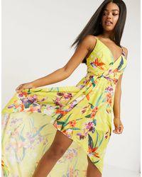 Lipsy Платье Макси С Открытыми Плечами И Цветочным Принтом -мульти - Желтый