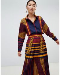 NA-KD - Co-ord Colour Block Blouse - Lyst