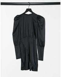 Naanaa Vestito nero a maniche lunghe