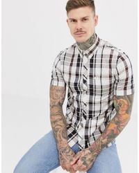Fred Perry Short Sleeve Check Shirt In Navy And Brown - Blue