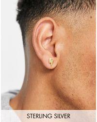 ASOS Boucles d'oreilles en argent massif motif éclair - Métallisé