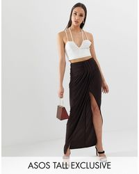 ASOS Asos Design Tall Exclusive Drape Wrap Slinky Maxi Skirt - Brown