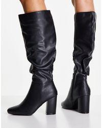 New Look Черные Сапоги До Колена С Напуском На Каблуке -черный Цвет
