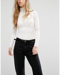 Vero Moda - Skinny Patent Belt - Lyst