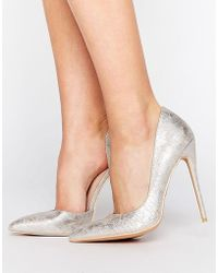 Lost Ink Fifi Silver D'orsay Court Shoes - Metallic