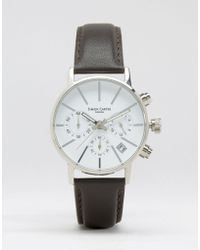 Simon Carter - Imon Carter Chronograph Leather Watch With White Dial In Brown - Lyst