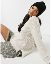 Pimkie Thick Cable Knit V Neck Jumper - White