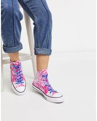 Converse - Розовые Высокие Кеды С Принтом Тай-дай Chuck Taylor All Star-розовый - Lyst