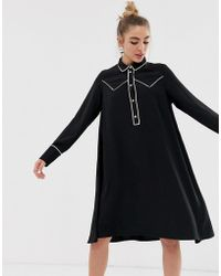 Monki Western Trim Shirt Dress - Black