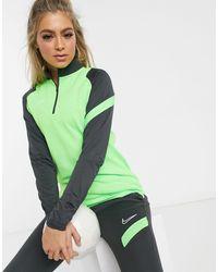 Nike Football Academy - Top giallo fluo con zip corta - Verde