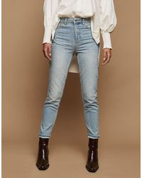 TOPSHOP Bleach Premium Mom Tapered Jeans - Blue