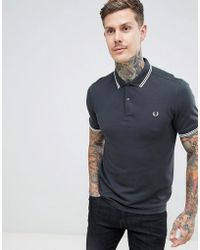 77ff0b14d45 Lyst - Fred Perry Polo Shirt With Gingham Print In Navy in Blue for Men