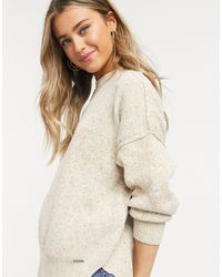 Abercrombie & Fitch Oversized Crew Neck Knitted Sweater - Natural