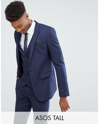 ASOS Tall Skinny Suit Jacket - Blue