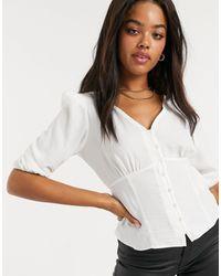 New Look - Blusa da giorno bianca - Lyst