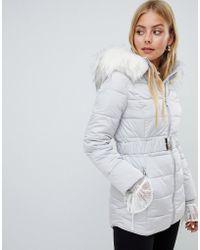 Miss Selfridge - Longline Padded Jacket With Faux Fur Trim In Gray - Lyst