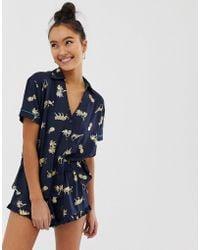 Chelsea Peers Foil Animal Print Revere Pyjama Set In Navy - Blue