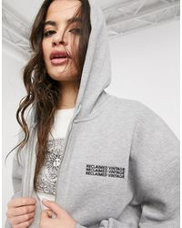 Reclaimed (vintage) Inspired Zip Front Hoodie - Grey