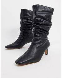 NA-KD Ruched Square Toe Boots - Black