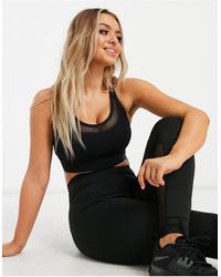 Lorna Jane Mesh Layer Cross Back Sports Bra - Black