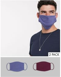 Reclaimed (vintage) Unisex 5 Pack Face Coverings - Multicolor