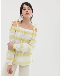 Vero Moda - Stripe Cami Tie Strap Top-yellow - Lyst