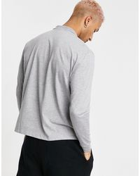 ASOS Relaxed Long Sleeve Polo Shirt With Boston City Embroidery - Grey