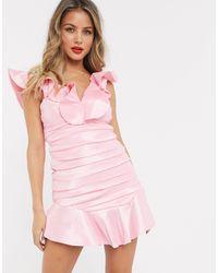 Bardot Taffeta Ruched Mini Dress - Pink