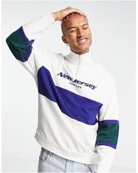 ASOS Co-ord Oversized Half Zip Sweatshirt With New Jersey Print & Colour Block - White