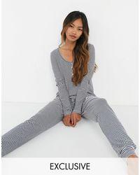 Lindex Amy - Pantaloni lunghi da pigiama blu navy a righe