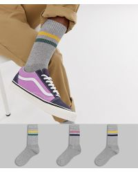 ASOS - Sports Style Socks In Gray Base With Retro 2 Color Stripes 3 Pack - Lyst
