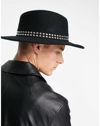 ASOS Wide Brim Pork Pie Hat With Studded Band And Size Adjuster - Black