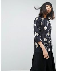 ASOS - Spot Print Top With Draw Cords - Lyst