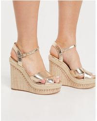 River Island Strappy Heeled Wedge Sandals - Metallic