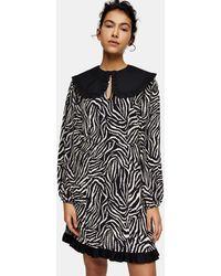 TOPSHOP - Zebra Print Oversized Collar Mini Tea Dress - Lyst