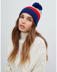 ASOS - Knitted Stipe Beanie With Pom - Lyst