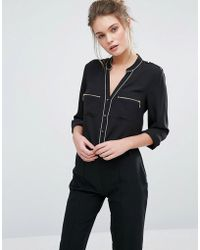 Oasis - Pyjama Style Shirt With Piping Detail - Lyst