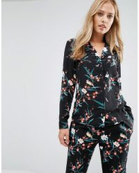 Oasis Floral Print Pj Shirt - Black