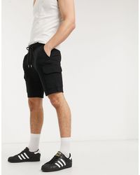 ASOS Jersey Skinny Shorts With Cargo Pockets - Black