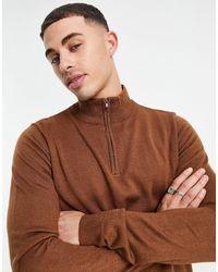 Threadbare – weicher pullover mit stehkragen und kurzem reißverschluss - Braun