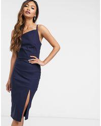 Vesper - Темно-синее Облегающее Платье Миди С Разрезом -темно-синий - Lyst