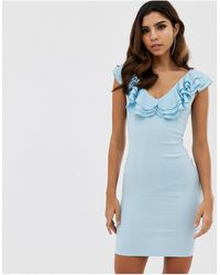 Vesper - Облегающее Платье С V-образным Вырезом И Оборками -синий - Lyst