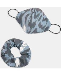 TOPSHOP Ensemble chouchou masque en tissu à imprimé animal - Multicolore