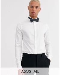 ASOS Tall - Satijnachtig Skinny-fit Overhemd Met Vleugelkraag - Wit
