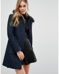 Warehouse - Swing Faux Fur Collar Coat - Lyst